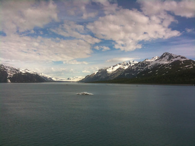 iPhone picture of us sailing toward Glacier Bay