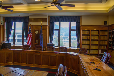 Alaska legislature hearing room.