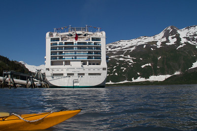 Our cruise ship, the Sapphire Princess from our kayak.