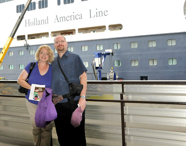 David and Nancy preparing to board the ship in Seattle.  Nancy was so excited.