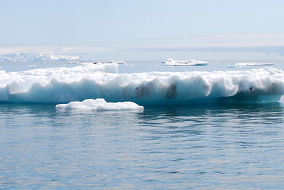 Ice from the glaciers, with blue tinge, due to compressed ice.