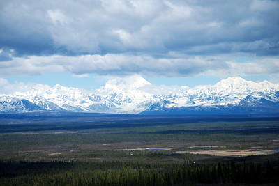 Denali, only partially covered in clouds (Also called Mount McKinley)