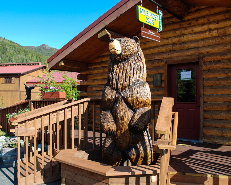 Bear statue at Denali Lodge