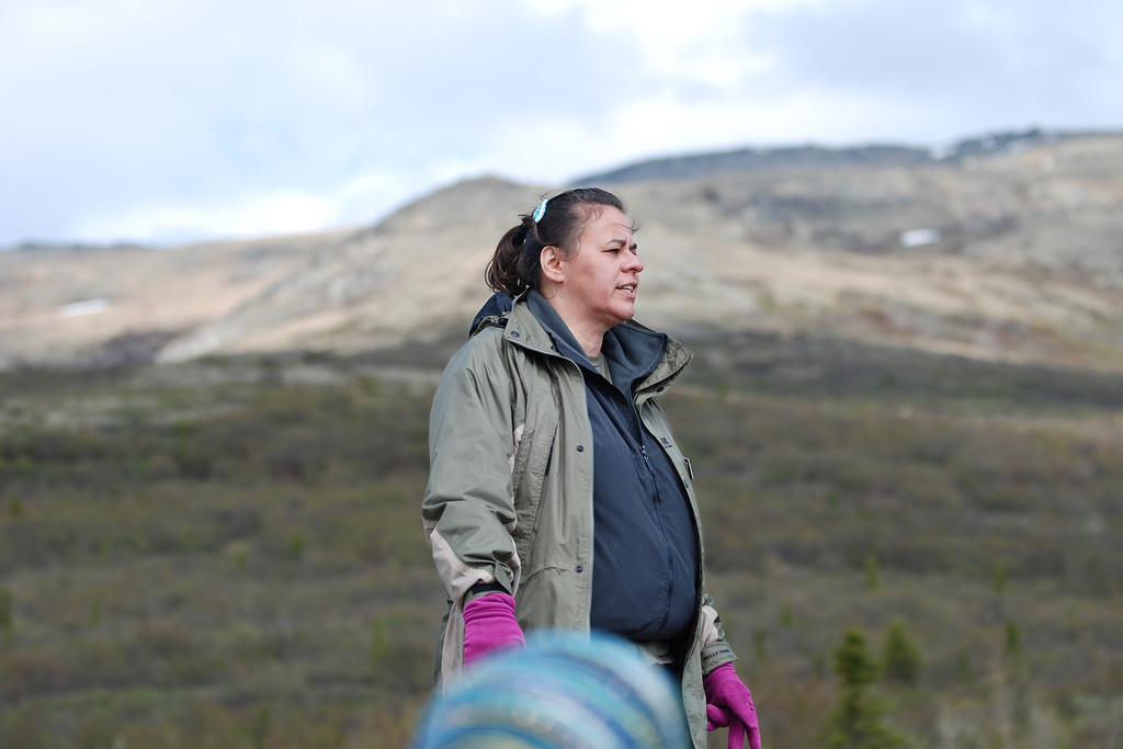 Native American guide, speaking of her tribe's customs, in Denali National Park