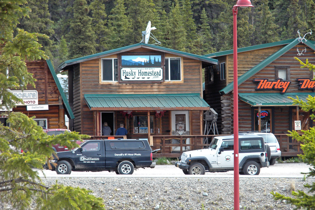 Tourist shops in Denali, Alaska, across from the Princess Denali Lodge