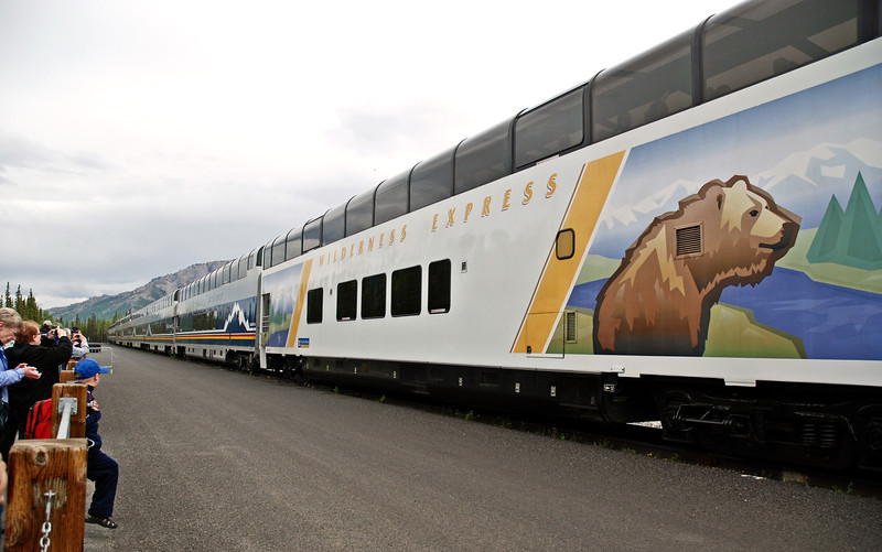 Alaskan Railroad train, leaving Denali