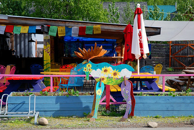 Painted wooden moose, the trademark of Talkeetna