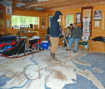 Jerry Sousa explaining the trail used for the Iditarod race each year