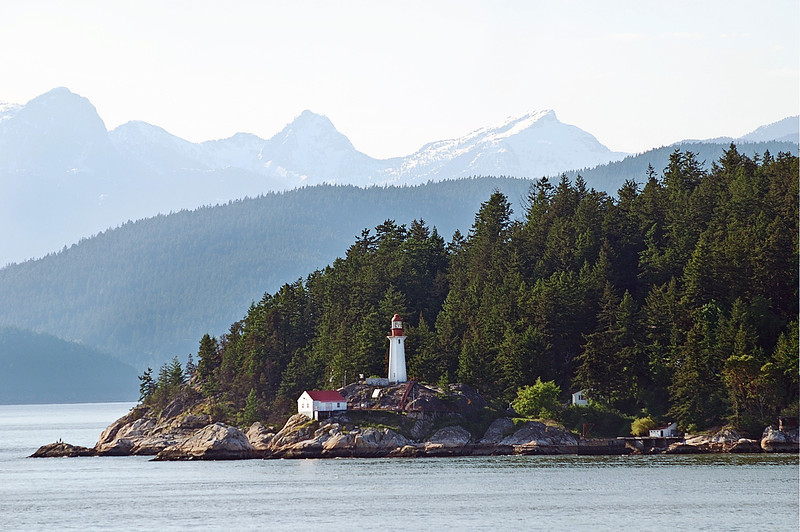 Lighthouse and buildings in Vancouver harbor