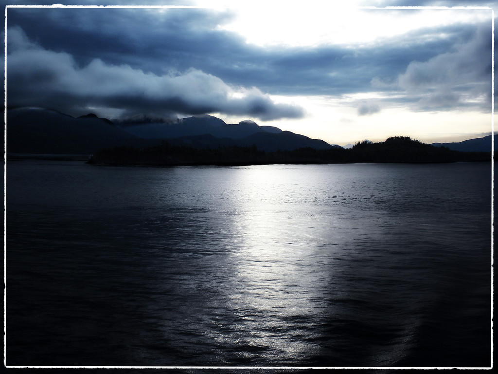 Night at sea, through the Inside Passage in Alaska
