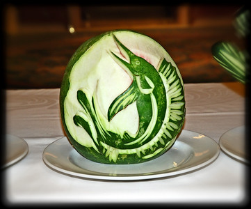 Food carvings - demonstrations in the Piazza