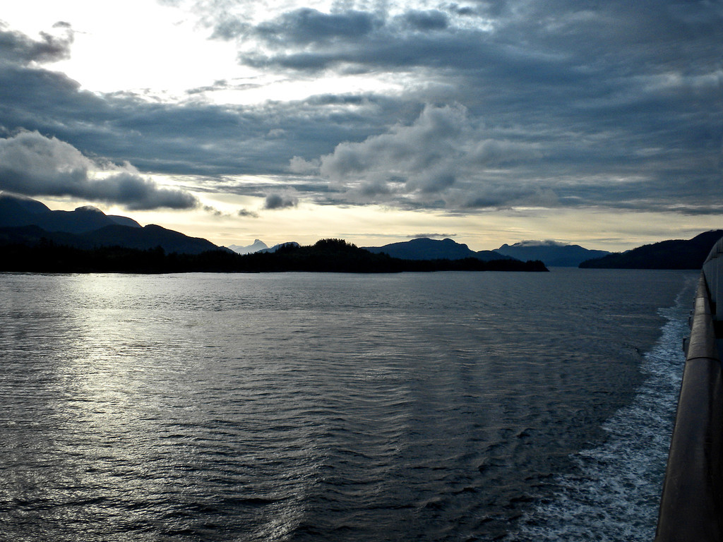 Night on board the Diamond Passage while going through the Inside Passage