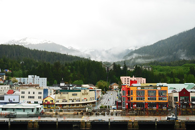 View of Ketchikan with the mountains in the background