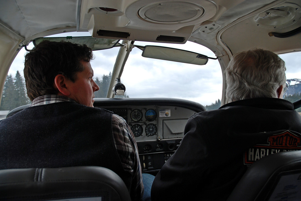 Frank and the pilot in the plane as we flew over the glaciers.