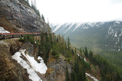 Train going around the mountainside - long way up, long way down