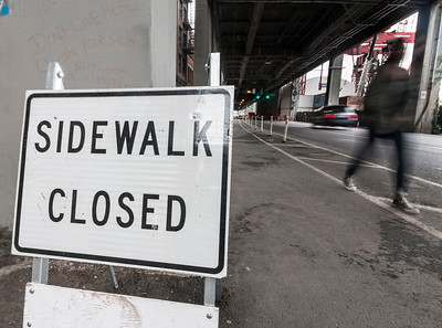 Alaskan Way Viaduct construction closes crosswalks and creates pedestrian and bicycle detour routes in Seattle, WA.