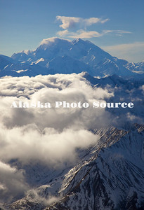 Alaska. Aerial view of Mt. McKinley with weather moving in, Denali National Park.