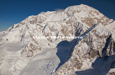 Alaska. A close-up view of Mt. McKinley and the top of the Kahiltna Glacier, Denali National Park.