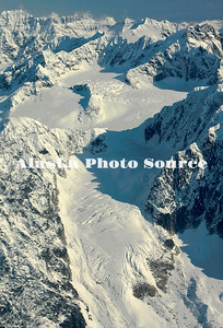 Alaska. Aerial view of un-named glacier feeding Kahiltna Glacier.