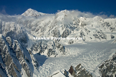 Alaska. Aerial view of Mt. McKinley as viewed while flying between the Kahiltna and Ruth Glaciers.