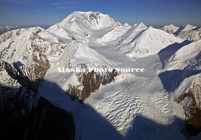 Alaska. Aerial view of the upper Eldridge Glacier, Mt Deceptiona and Mt Mather.