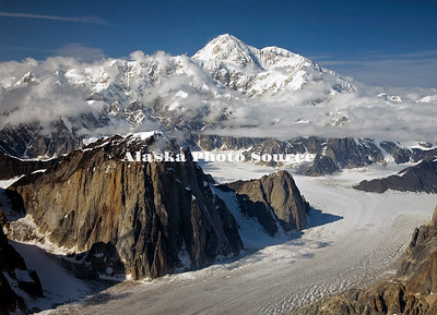 Alaska. Aerial view of Mt. McKinley with Ruth Amphitheater in foreground.