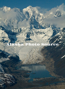 Alaska. Aerial view of Un-named glacier feeding into the Ruth Glacier, Denali Natl. Park.