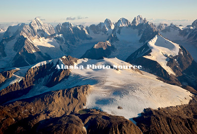 Alaska. Aerial view of Cathedral Spires and glaciers, Kichatna Mountains, Denali National Park & Preserve. The granite Cathedral Spires are the highest strand of vertical rock in North American.