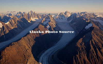 Alaska. Aerial view of Cathedral Spires, Kichatna Mountains, Denali National Park & Preserve. The granite Cathedral Spires are the highest strand of vertical rock in North American.