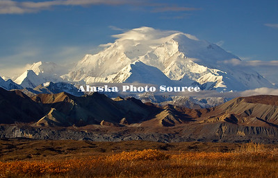 Alaska. Autumn scenic of Mt. McKinley with lenticulars and other weather moving in from the south,  Denali National Park.