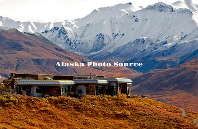 Alaska. New Eielson Visitors Center, outside view from park road, Denali Natl. Park.