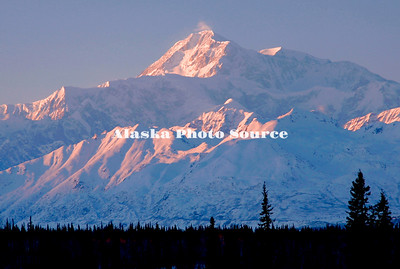 Mt McKinley in southside alpenglow in winter