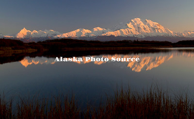 Alaska. Mt. McKinley as seen in Reflection Pond on a brillant, calm evening,  Denali National Park.