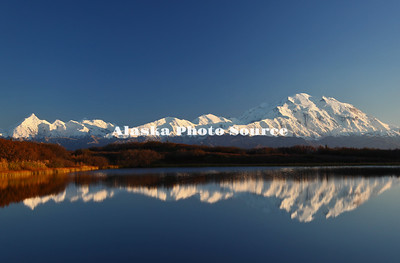 Alaska. Evening view of Mt McKinley from Reflcetion Pond, Denali Natl. Park. and Preserve.
