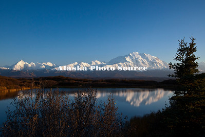 Alaska. In this view of Reflection Pond along the Denali Park Road, Mt. McKinley is basking in evening light at the end of a beautiful clear day, Denali National Park.