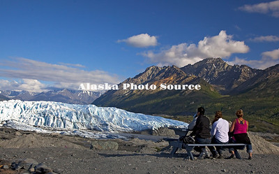 Alaska. Picnicing with a scenic view of the Matanuska Glacier. (Model Release)