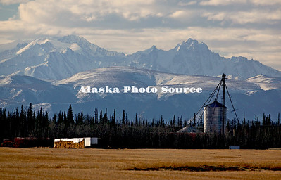 Alaska. Dramatic scenic view of Delta Junction barley fields and silo with mountains of the Alaska Range in the Background.