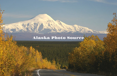 Alaska. Autumn view of Mt Drum from the Richardson Highway.