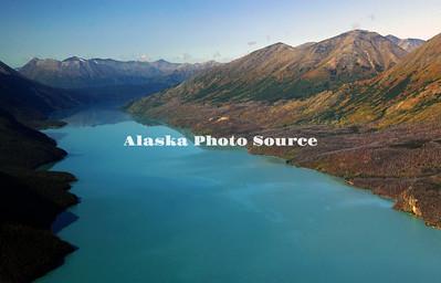 Alaska. Aerial view of Kenai Lake, along the Kenai Peninsula in the fall.