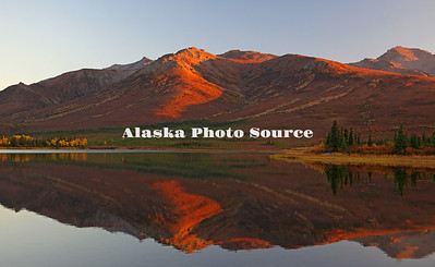 Alaska. Autumn mountain reflection in Otto Lake at Sunset, Healy.