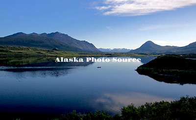 Alaska. Scenic view of canoeing Tangle Lakes as viewed from the Denali Highway. (MR)