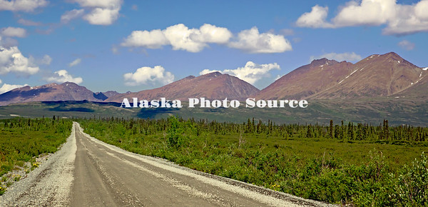 Alaska. Summer scenic view while driving through the high valley portion of the Denali Hwy.