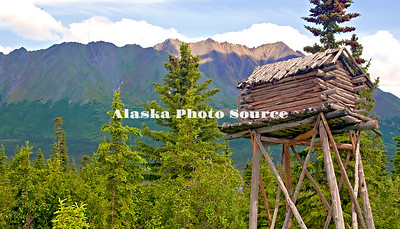 Alaska. An old-time Alaska Food Cache to keep goods safe from bears, located along the western Denali Hwy next to the Sluice Box bar.