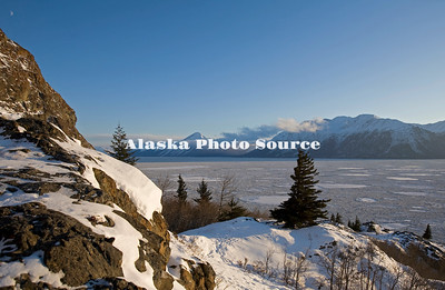 Alaska. Winter scene along Turnagain arm, Cook Inlet.