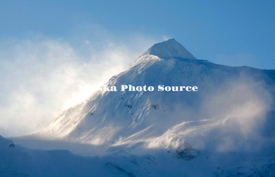 Alaska. Portage Pass with blowing snow, winds were in excess of 50 knots in Whittier.