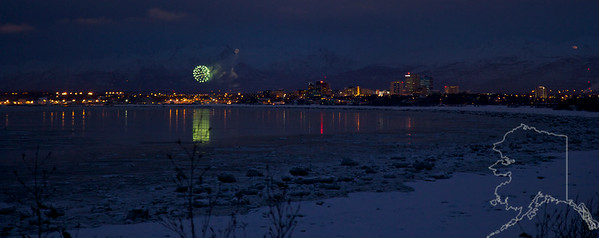 Fur Rondy Fireworks shot from Earthquake Park.