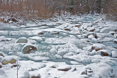 This is The Little Susitna River flowing out of the bottom of Hatcher Pass. This is the river in the beginning of winter. Water is still running. This picture was taken 11/5/2011.