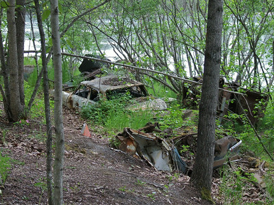 Kink River. At one time some people thought this was a good place to dump old cars. Now the cars are part of the land scape.