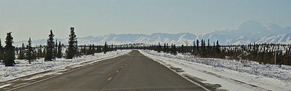 This is the Parks Highway. Mt. Mckinley is off to the right of the Highway. This is looking south.