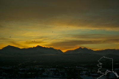Morning of Feb. 4 2012. Mountains just out side of Anchorage.